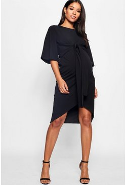 Black Maternity Kimono Wrap Over Midi Dress