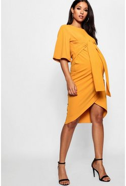 Mustard Maternity Kimono Wrap Over Midi Dress