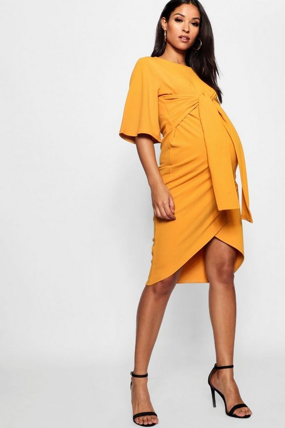 Maternity Kimono Wrap Over Midi Dress