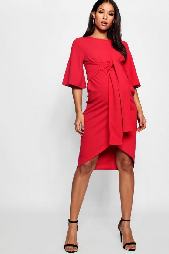 Maternity Kimono Wrap Over Midi Dress, Red, Donna