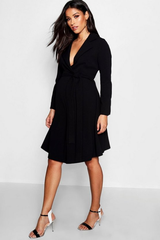 Womens Black Maternity Long Sleeve Swing Dress