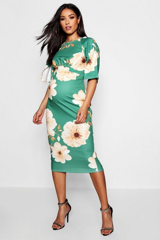 Maternity Floral Split Sleeve Wiggle Midi Dress
