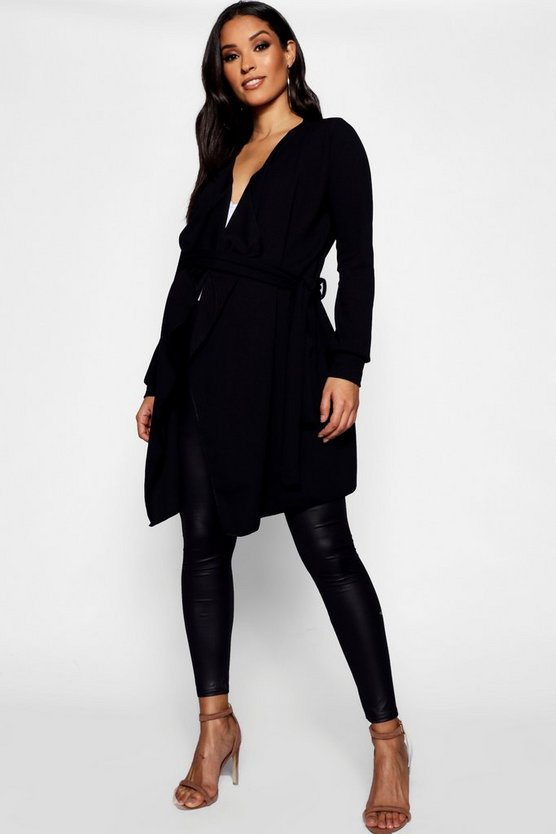 Maternity Waterfall Belted Duster Jacket