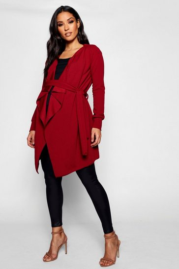 Womens Wine Maternity Waterfall Belted Duster Jacket