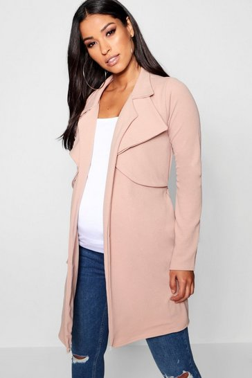 Womens Stone Maternity Double Breasted Duster Jacket