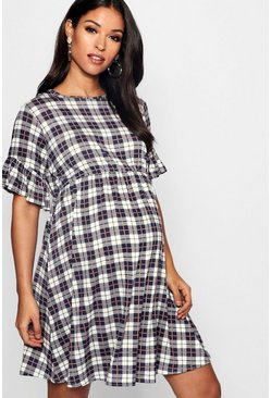 Womens Navy Maternity Check Smock Dress