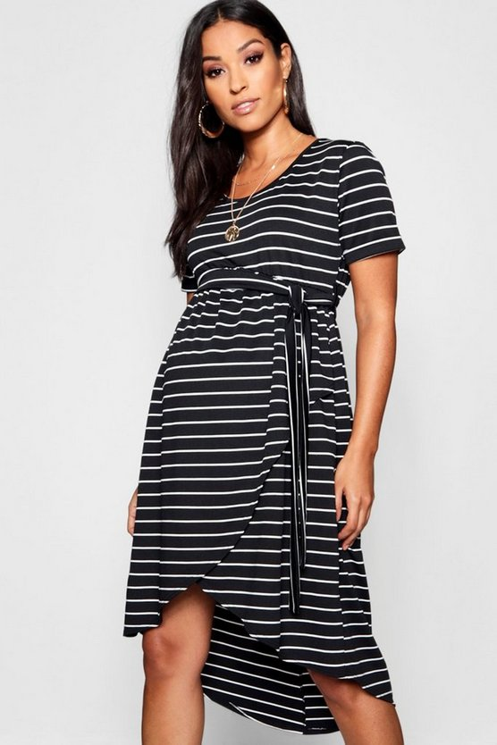 Womens Black Maternity Wrap Front Belted Midi Dress