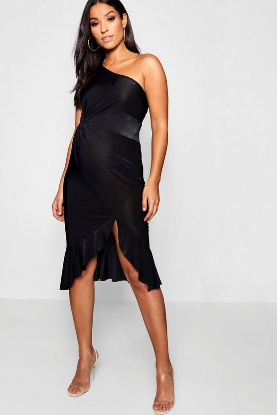 Womens Black Maternity One Shoulder Twist Frill Midi Dress