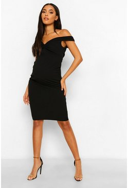 Womens Black Maternity Twist Front Off The Shoulder Midi Dress