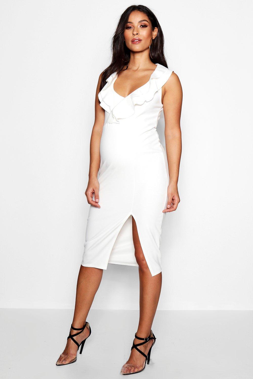 Фото #1: Двойное для беременных с оборками Миди-платье с вырезом сердечком