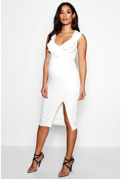 Womens White Maternity Double Frill Sweetheart Neck Midi Dress