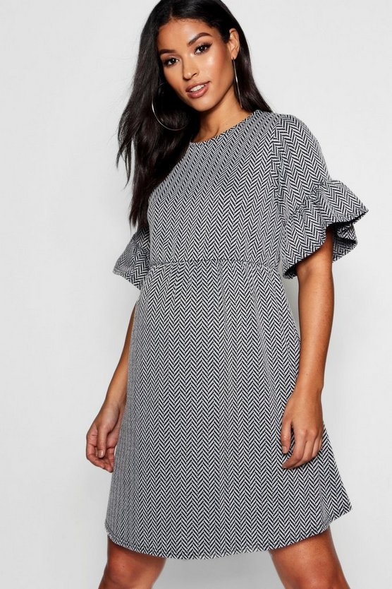 Womens Black Maternity Chevron Jaquard Smock Dress