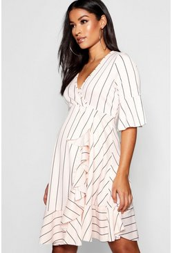 Womens Nude Maternity Stripe Frill Wrap Dress