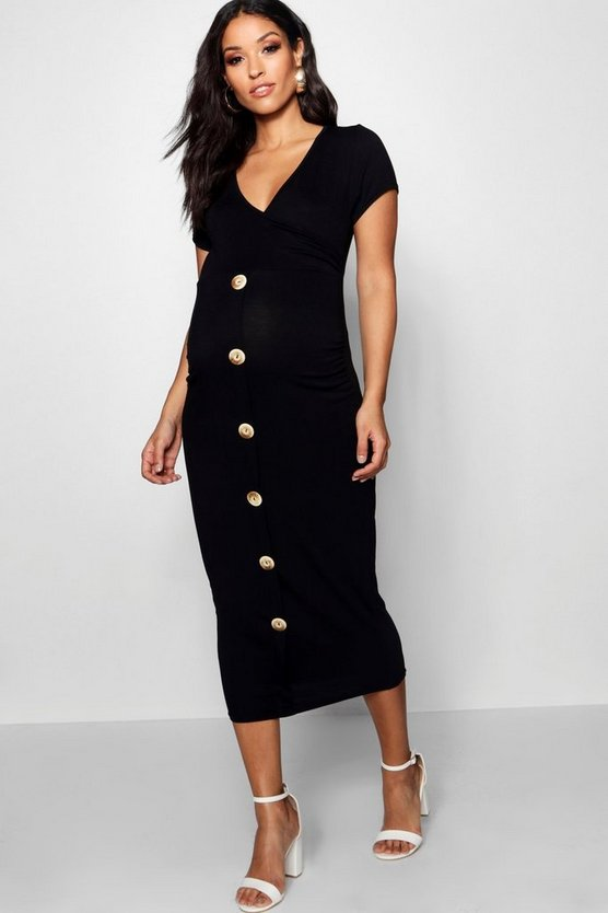 Womens Black Maternity Wrap Front Horn Button Midi Dress