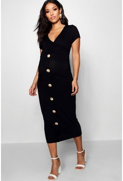 Black Maternity Wrap Front Horn Button Midi Dress