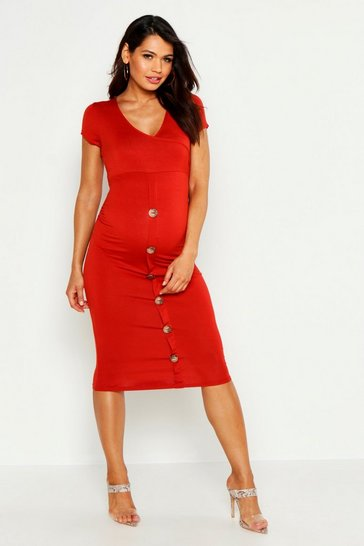 Rust Maternity Wrap Front Horn Button Midi Dress