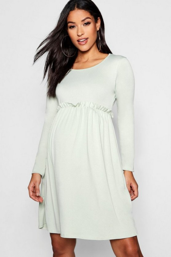Maternity Long Sleeve Frill Smock Dress