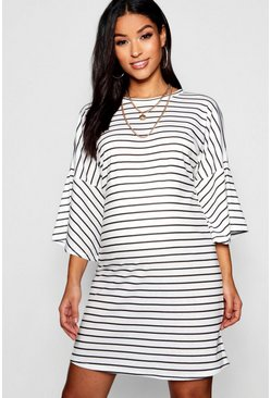 Womens Black Maternity Mono Stripe Frill Sleeve Tshirt Dress