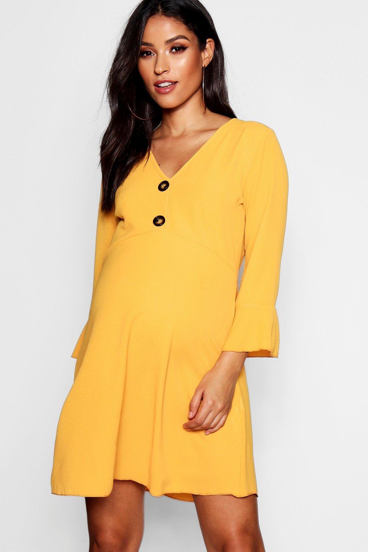 Купить со скидкой Платье с оборками на роговых пуговицах для беременных