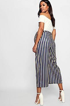 Maternity Stripe Culotte Pants