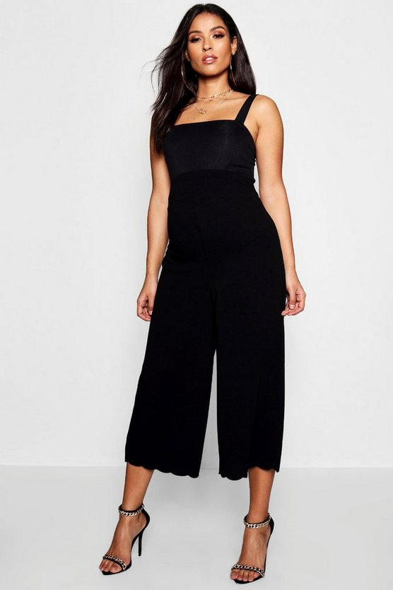 Womens Black Maternity Scallop Edge Culotte