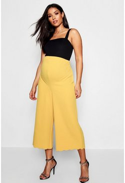 Womens Mustard Maternity Scallop Edge Culotte