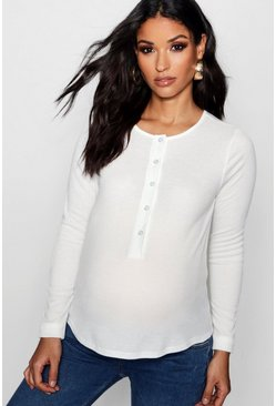 Womens White Maternity Rib Button Up Long Sleeve Top