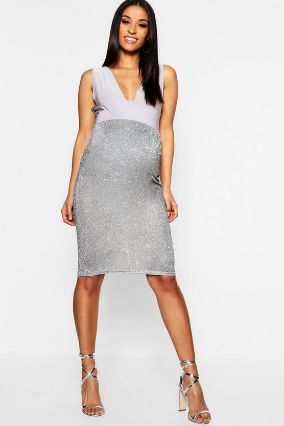 Maternity Sparkle Over The Bump Midi Skirt