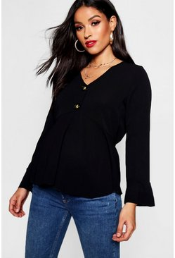 Womens Black Maternity Horn Button Frill Blouse