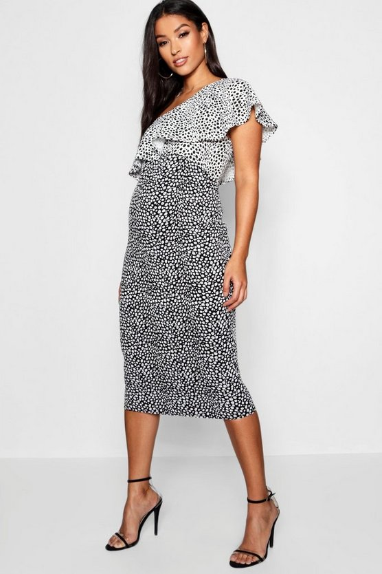 Maternity One Shoulder Frill Spot Dress