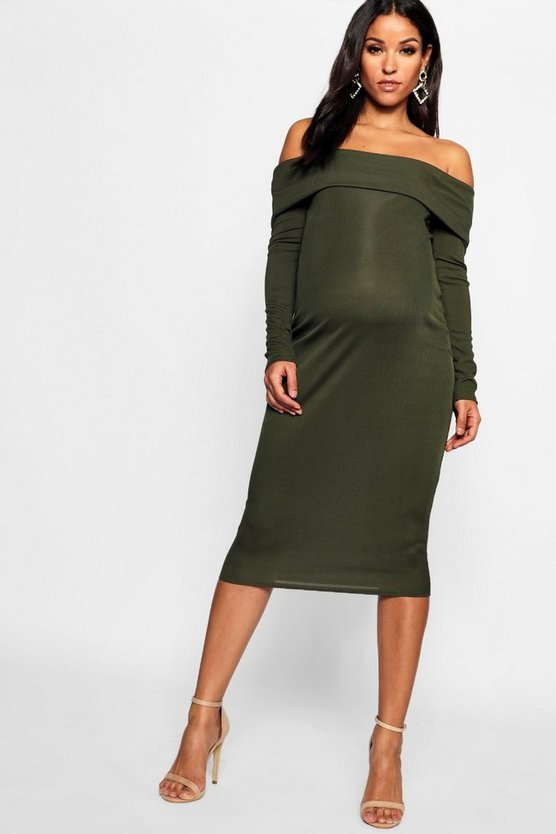 Maternity Rib Off The Shoulder Midi Dress