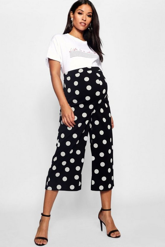 Womens Black Maternity Spot Culotte Trouser
