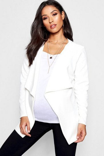 Womens Ivory Maternity Waterfall Jacket