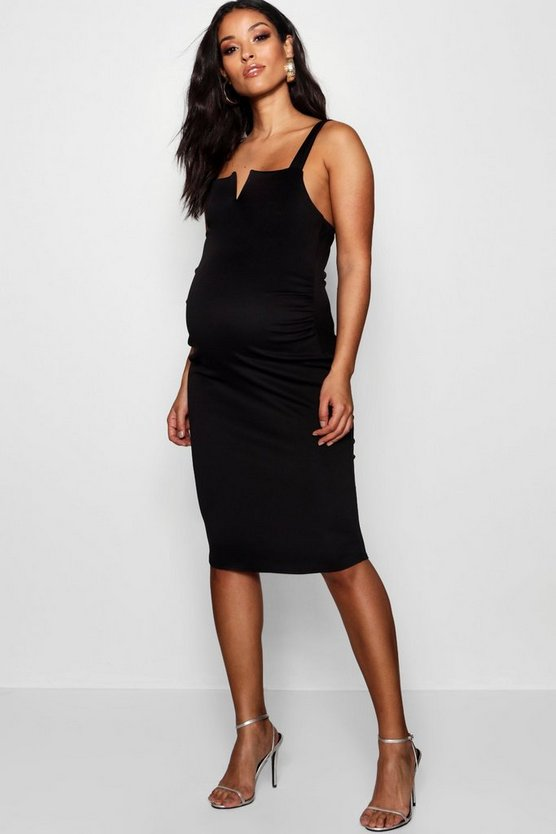 Maternity Thick Strap V Bar Midi Dress
