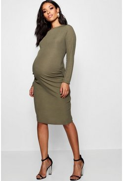 Khaki Maternity Long Sleeve Basic Rib Crew Bodycon Dress