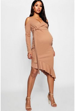 Caramel Maternity Rib Cold Shoulder Wrap Dress