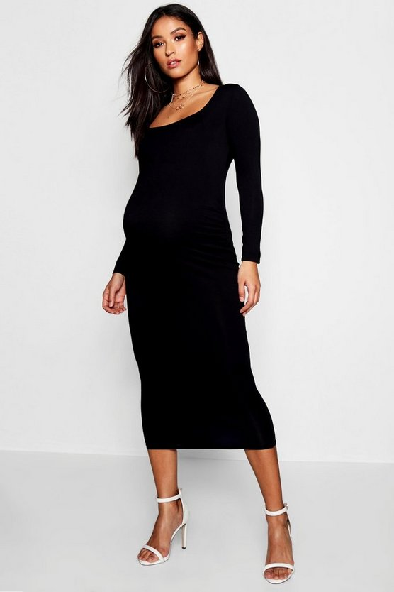 Maternity Long Sleeve Over The Bump Bodycon Midi Dress