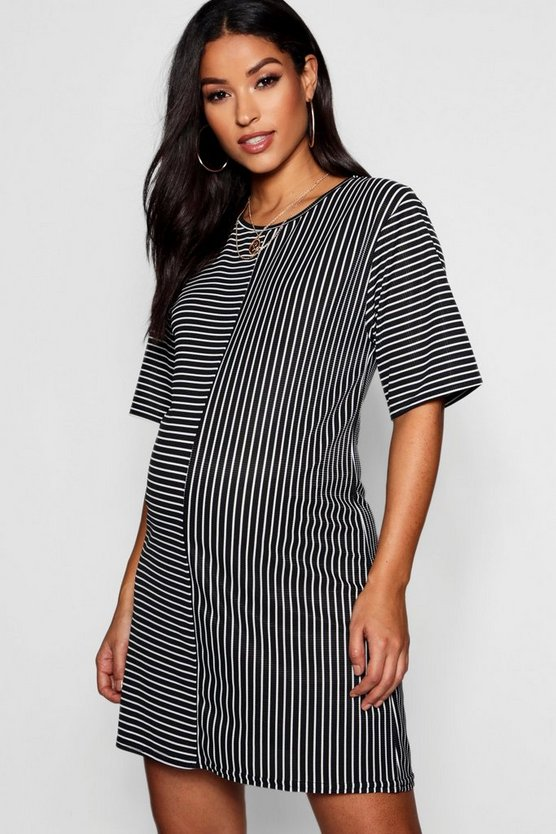 Maternity Contrast Stripe Tshirt Dress