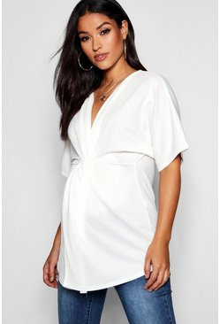 Womens White Maternity Twist Front Kimono Sleeve Blouse