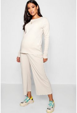 Womens Stone Maternity Rib Culotte Co Ord Set