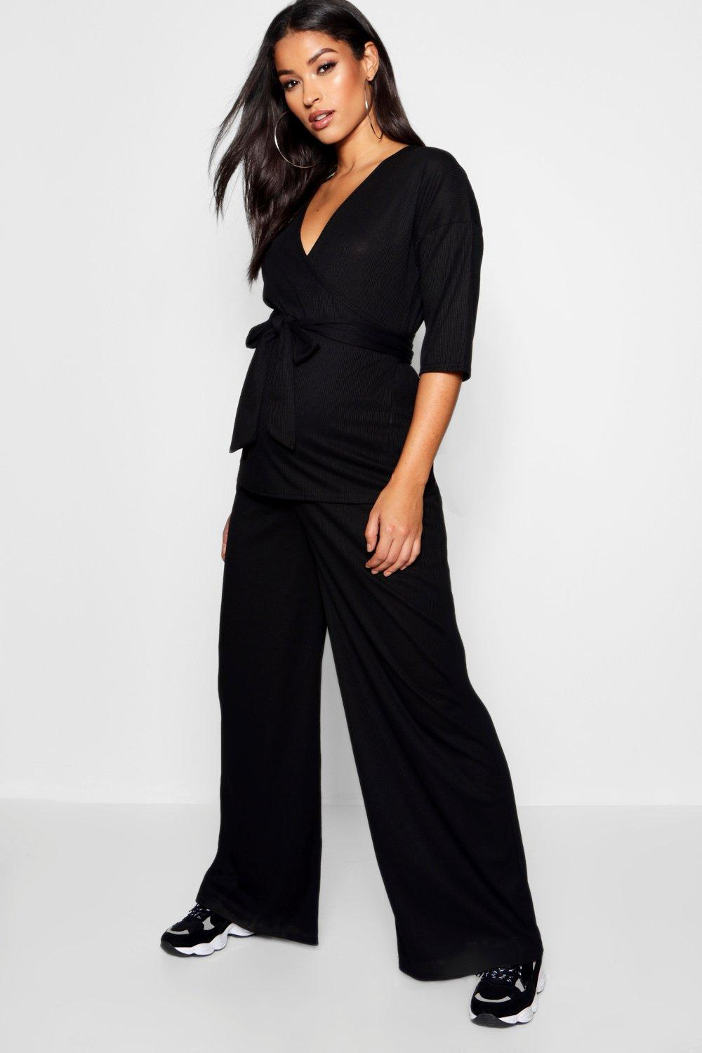 Maternity Top Trouser black Wrap Co Leg Ord Wide amp; ZZxaprqU