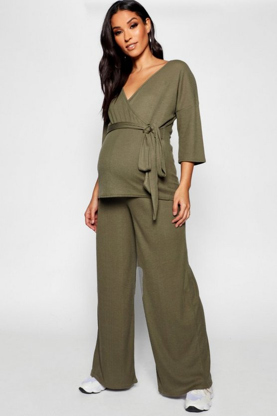 Maternity Wrap Top & Wide Leg Trouser Co Ord