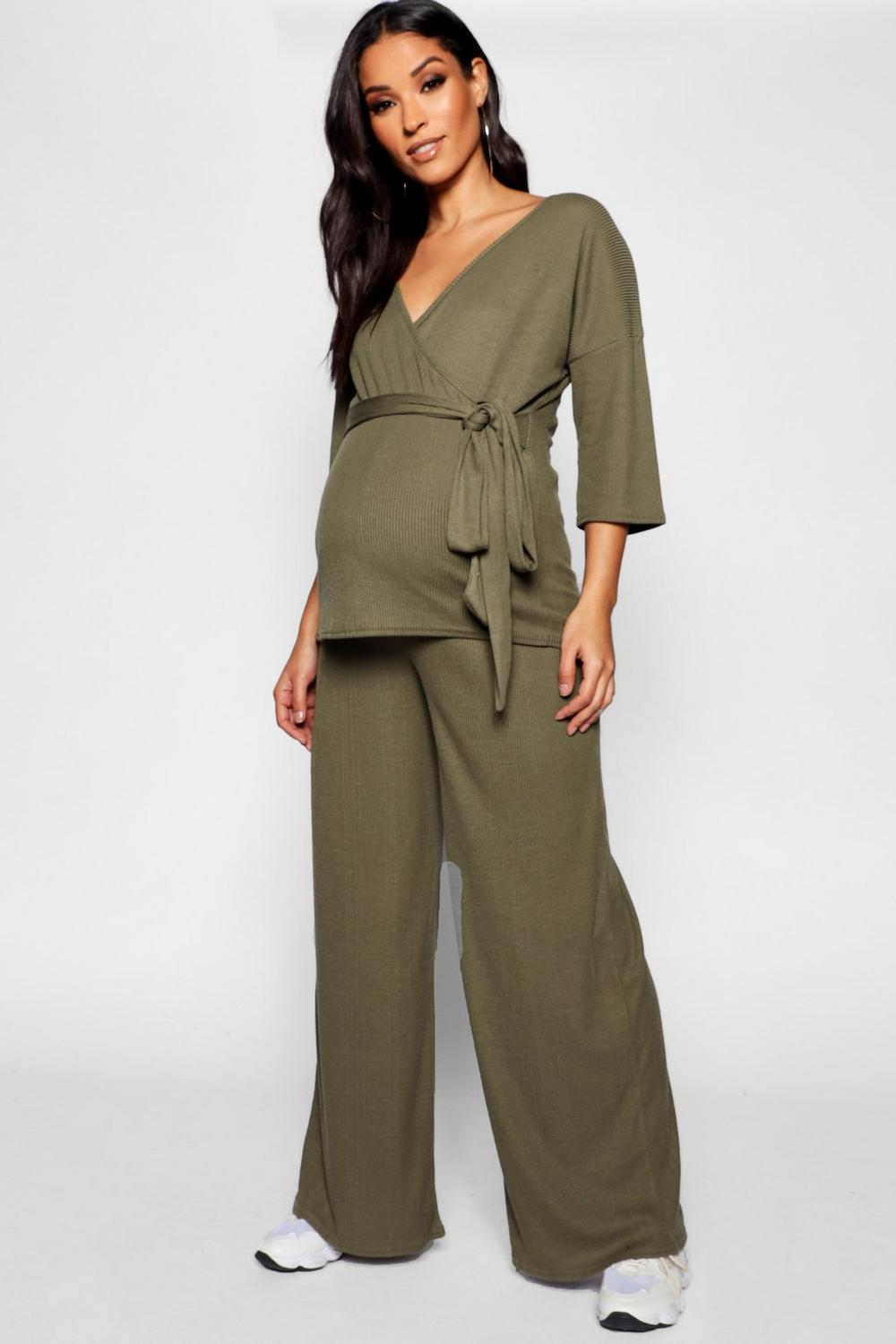 aae0ef755594e6 Maternity Wrap Top   Wide Leg Trouser Co Ord. Hover to zoom