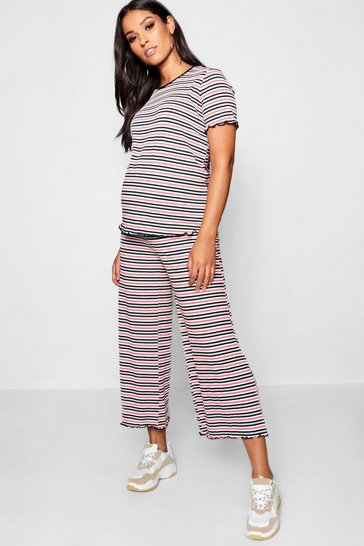 Womens Red Maternity Pinstripe Rib Culotte Set