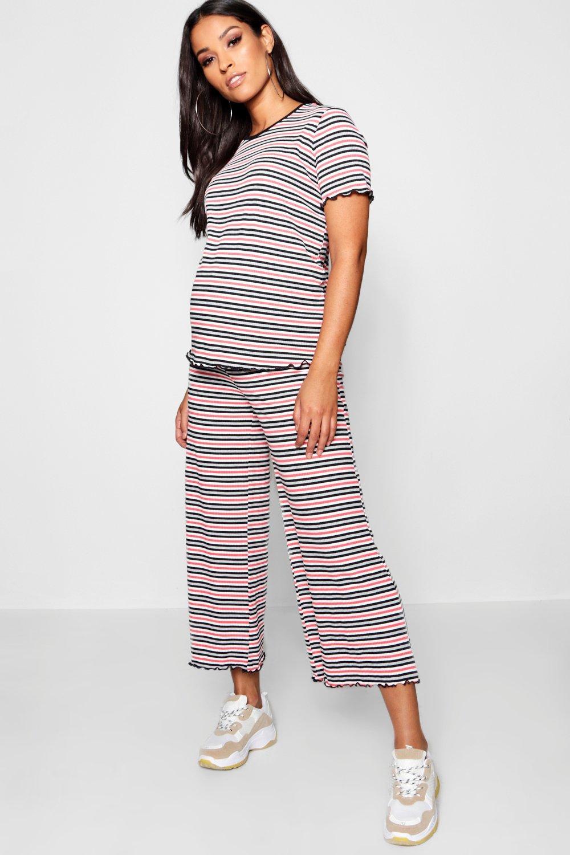 Rib Set Pinstripe Culotte red Maternity ZS6qn7