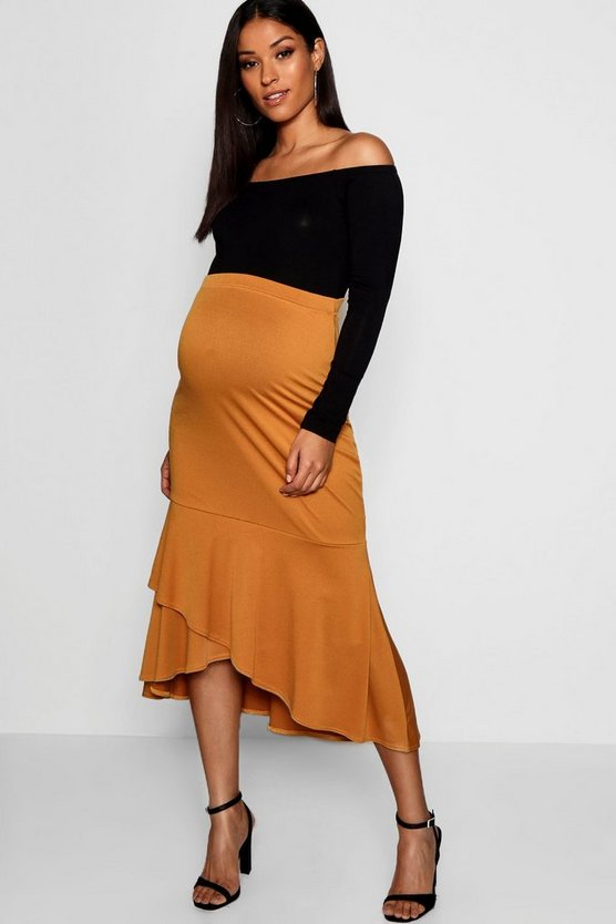 Maternity Wrap Over Frill Midi Skirt