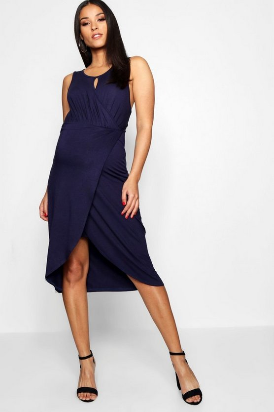 Maternity Open Plunge Wrap Over Midi Dress