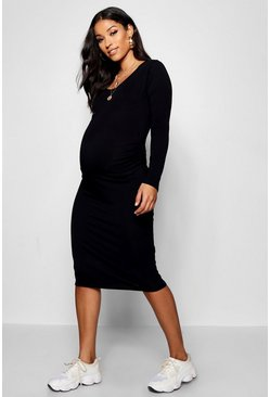 Womens Black Maternity Scoop Neck Long Sleeve Midi Dress