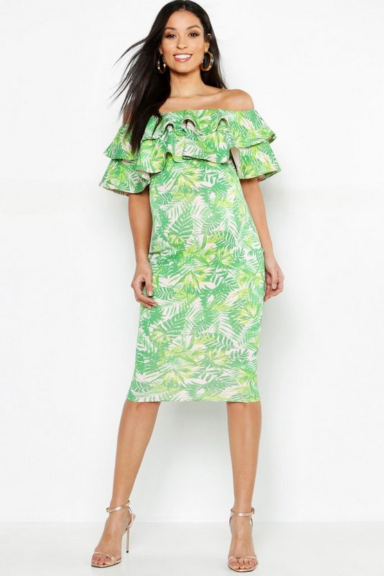 Maternity Leaf Print Off The Shoulder Midi Dress