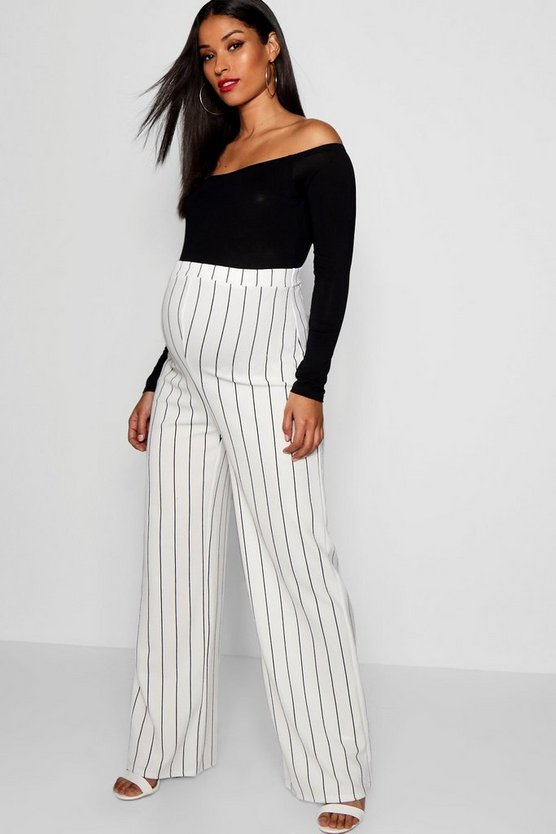 Maternity Over The Bump Split Leg Stripe Trouser